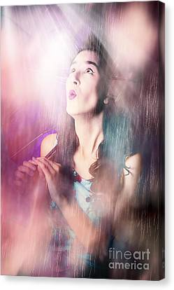 Pinup Woman Mesmerised By Pouring Down Rainfall Canvas Print