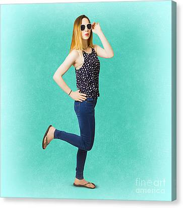 Pinup Women In Blue Jeans Canvas Print by Jorgo Photography - Wall Art Gallery