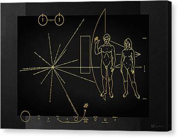 Pioneer 10-11 Plaque On Black Canvas Canvas Print