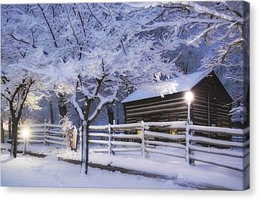 Pioneer Cabin At Christmas Time Canvas Print by Utah Images
