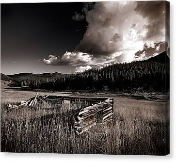 Old Cabins Canvas Print - Pioneer History by Leland D Howard