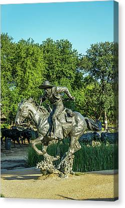 Pioneer Plaza Cattle Drive Monument Dallas Canvas Print by Art Spectrum