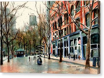 Canvas Print featuring the painting Pioneer Square by Marti Green