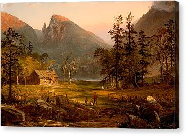 Log Cabin Canvas Print - Pioneer's Home At Eagle Cliff - White Mountains by Mountain Dreams
