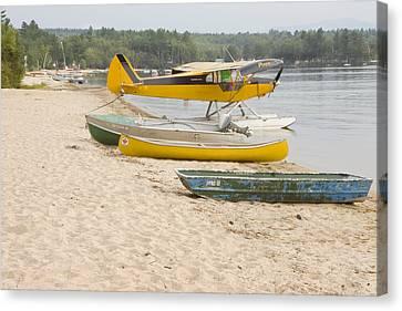 Piper Super Cub Floatplane Near Pond In Maine Canvas Poster Print Canvas Print