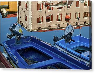 Canvas Print featuring the photograph Piran Marina Reflections #3 by Stuart Litoff