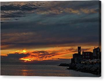 Canvas Print featuring the photograph Piran Slovenia Sunset #2 by Stuart Litoff