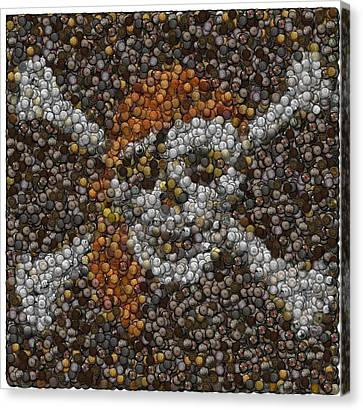 Canvas Print featuring the digital art Pirate Coins Mosaic by Paul Van Scott