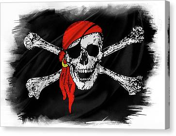 Pirate Flag Canvas Print by Les Cunliffe