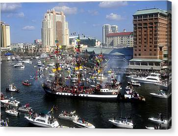 Pirate Invasion Tampa Bay  Canvas Print by David Lee Thompson