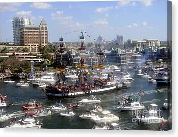 Pirate Ship And Flotilla Canvas Print