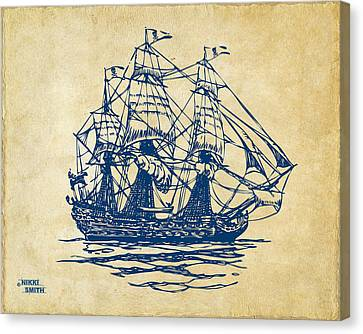 Pirate Ship Artwork - Vintage Canvas Print by Nikki Marie Smith