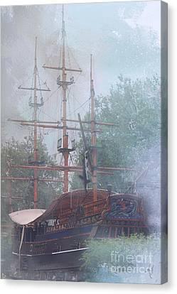 Pirate Ship Hiding In Cove Canvas Print