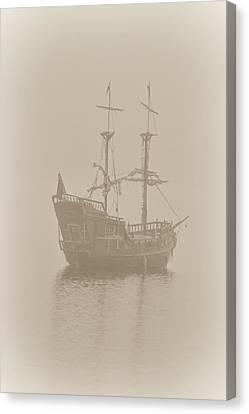 Pirate Ship In Sepia Canvas Print by Joy McAdams