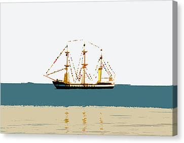 Pirate Ship On The Horizon Canvas Print by David Lee Thompson