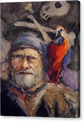 Pirate With Bird And Flag Canvas Print by R W Goetting