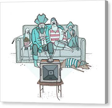 Pirates Sitting On Sofa And Watching Television Set  Canvas Print