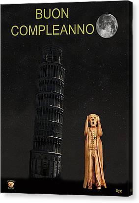 Genoa Canvas Print - Pisa The Scream World Tour Happy Birthday Italian by Eric Kempson