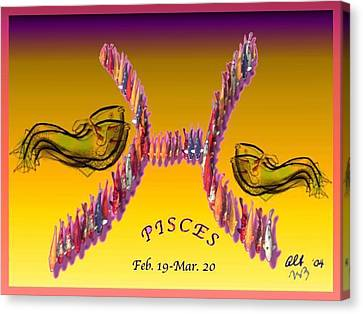 Canvas Print featuring the painting Pisces by The Art of Alice Terrill