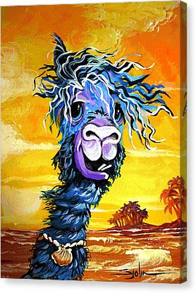 Pisco The Surfing Alpaca Canvas Print by Patty Sjolin