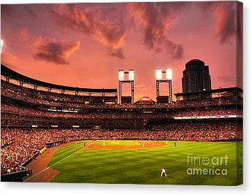 Piscotty In Left Field Canvas Print by William Fields