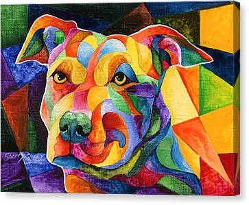 Pit Bull 1 Canvas Print by Sherry Shipley