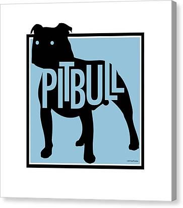 Pit Bull Blue Canvas Print