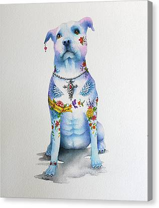 Pit Bull Penny Tattoo Dog Canvas Print by Patricia Lintner