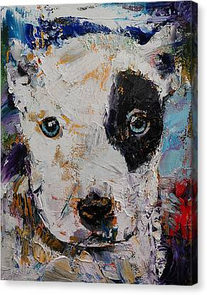 Pit Bull Puppy Canvas Print by Michael Creese
