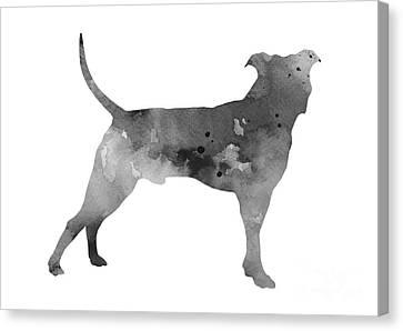 Pit Bull Silhouette Watercolor Art Print Painting Canvas Print by Joanna Szmerdt