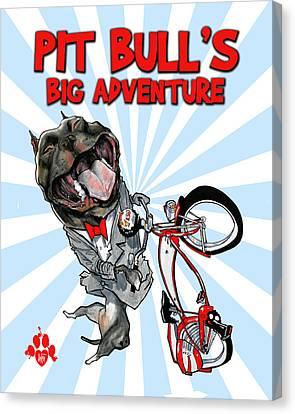Pit Bull's Big Adventure Caricature Canvas Print by John LaFree