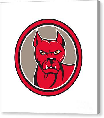Pitbull Dog Mongrel Head Circle Cartoon Canvas Print