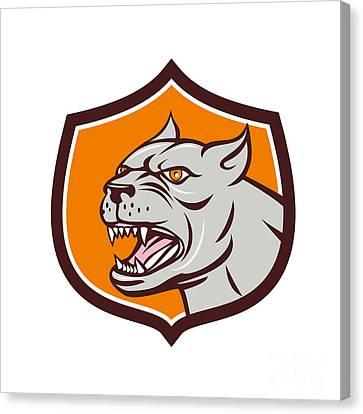Pitbull Dog Mongrel Head Shield Cartoon Canvas Print