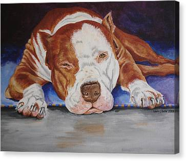 Pitbull Relaxing Canvas Print by Laura Bolle