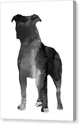 Pitbull Silhouette Minimalist Painting Canvas Print by Joanna Szmerdt