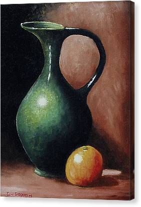 Canvas Print featuring the painting Pitcher And Orange by Gene Gregory