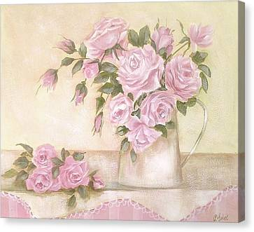 Pitcher Of  Pink Roses  Canvas Print