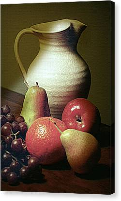Old Pitcher Canvas Print - Pitcher With Fruit by Diana Angstadt