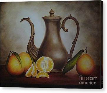 Pitcher With Oranges Canvas Print