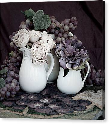 Canvas Print featuring the photograph Pitchers And Tapestry by Sherry Hallemeier