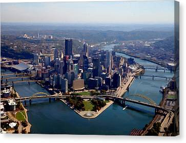 Pittsburgh Aerial Digital Painting Canvas Print by Mattucci Photography