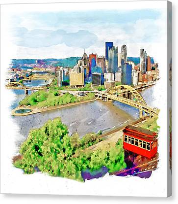 Pittsburgh Aerial View Canvas Print by Marian Voicu