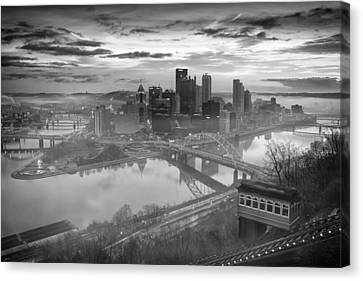 Pittsburgh Architecture 10 Bw Canvas Print by Emmanuel Panagiotakis