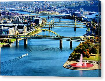 Canvas Print featuring the photograph Pittsburgh At The Point by Michelle Joseph-Long