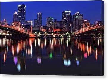 Pittsburgh Blue Hour Lights Canvas Print by Frozen in Time Fine Art Photography