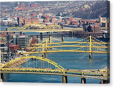 Pittsburgh Bridges Along The Allegheny River Canvas Print by Amy Cicconi