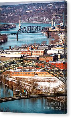 Pittsburgh Bridges Along The Ohio River Canvas Print by Amy Cicconi
