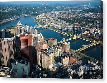Pittsburgh Bridges And City Aerial View Canvas Print by Amy Cicconi