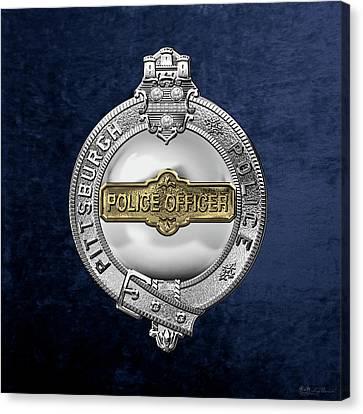 Police Officer Canvas Print - Pittsburgh Bureau Of Police -  P B P  Police Officer Badge Over Blue Velvet by Serge Averbukh