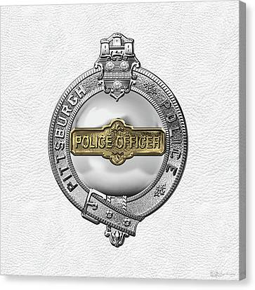 Police Officer Canvas Print - Pittsburgh Bureau Of Police -  P B P  Police Officer Badge Over White Leather by Serge Averbukh